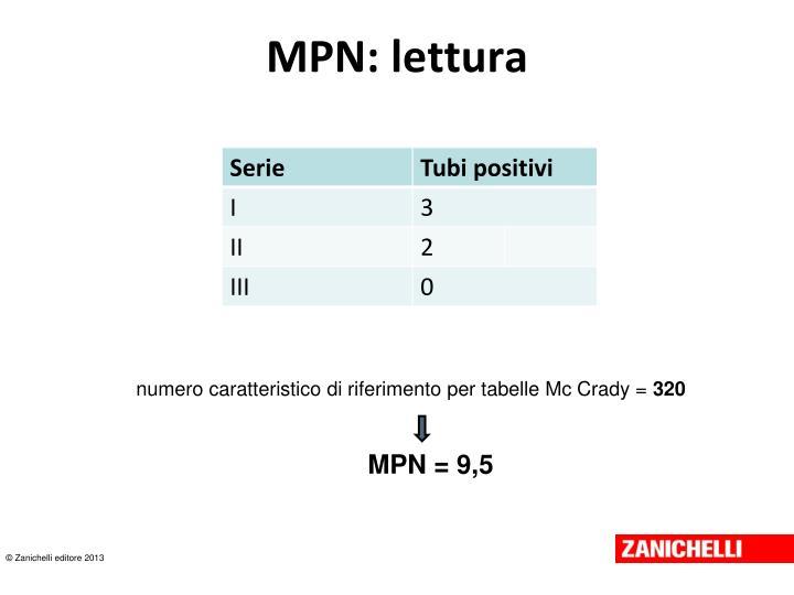 MPN: lettura