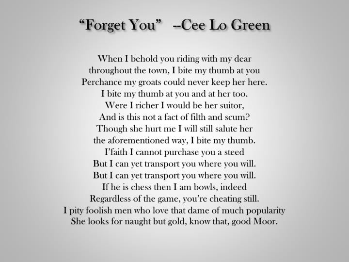 """Forget You""   --"