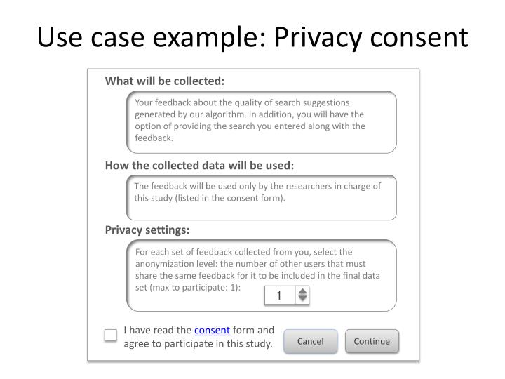 Use case example: Privacy consent