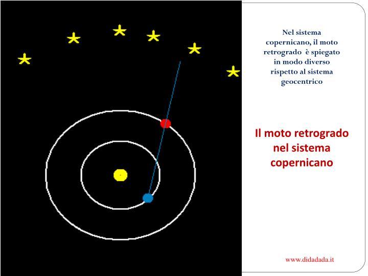 Nel sistema copernicano, il moto retrogrado  è spiegato in modo diverso rispetto al sistema geocentrico