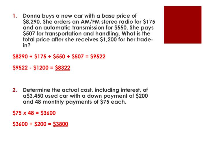 Donna buys a new car with a base price of $