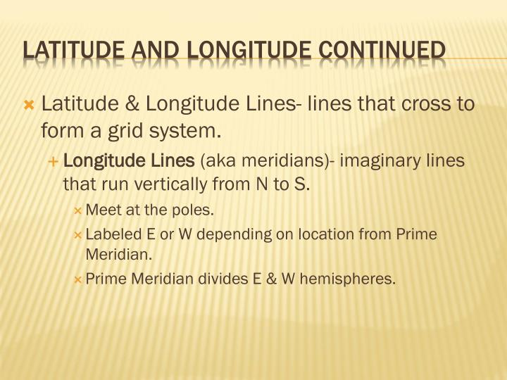 Latitude & Longitude Lines- lines that cross to form a grid system.