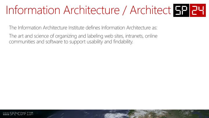 Information Architecture / Architect