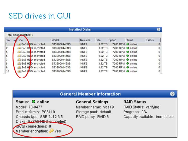 SED drives in GUI