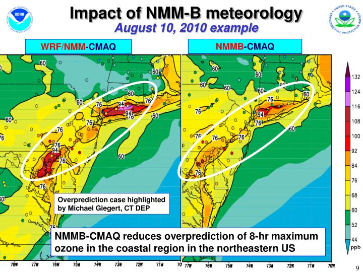 Impact of NMM-B meteorology