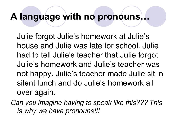 A language with no pronouns…