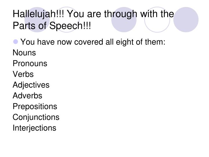 Hallelujah!!! You are through with the Parts of Speech!!!