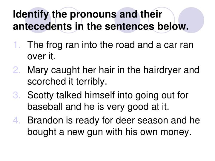 Identify the pronouns and their antecedents in the sentences below.
