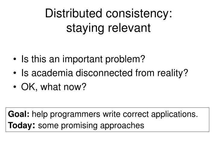 Distributed consistency: