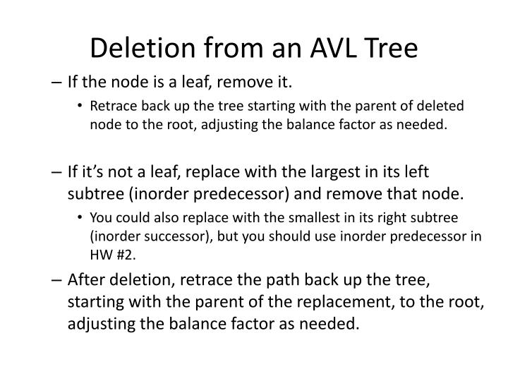 Deletion from an AVL Tree