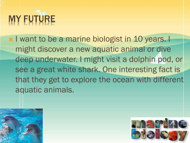I want to be a marine biologist in 10 years. I might discover a new aquatic animal or dive deep underwater. I might visit a dolphin pod, or see a great white shark. One interesting fact is that they get to explore the ocean with different aquatic animals.