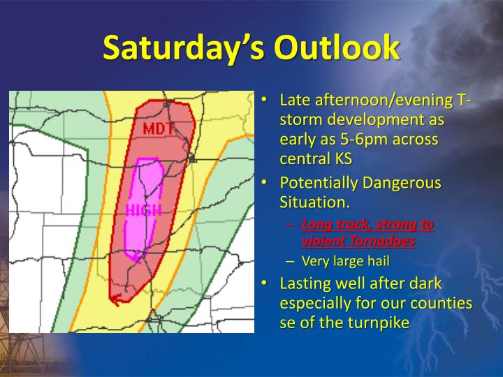 Saturday's Outlook