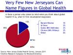 very few new jerseyans can name figures in global health