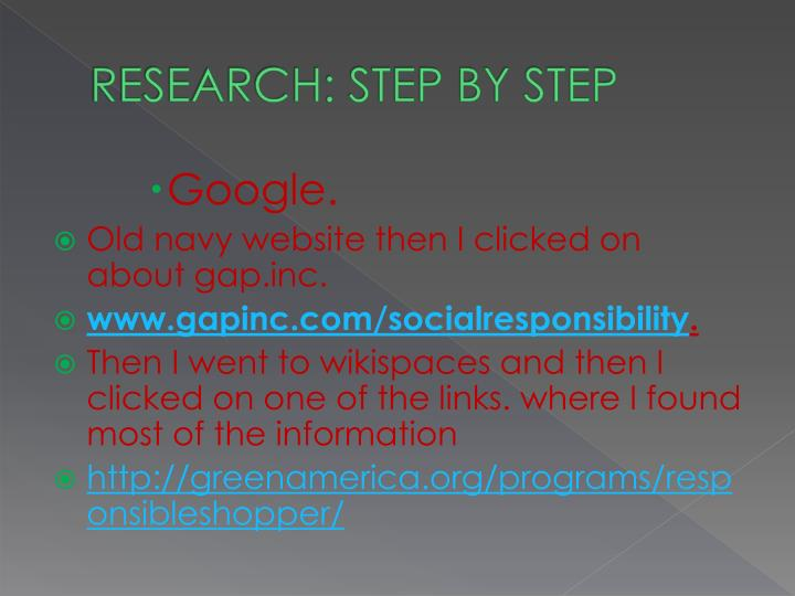 RESEARCH: STEP BY STEP