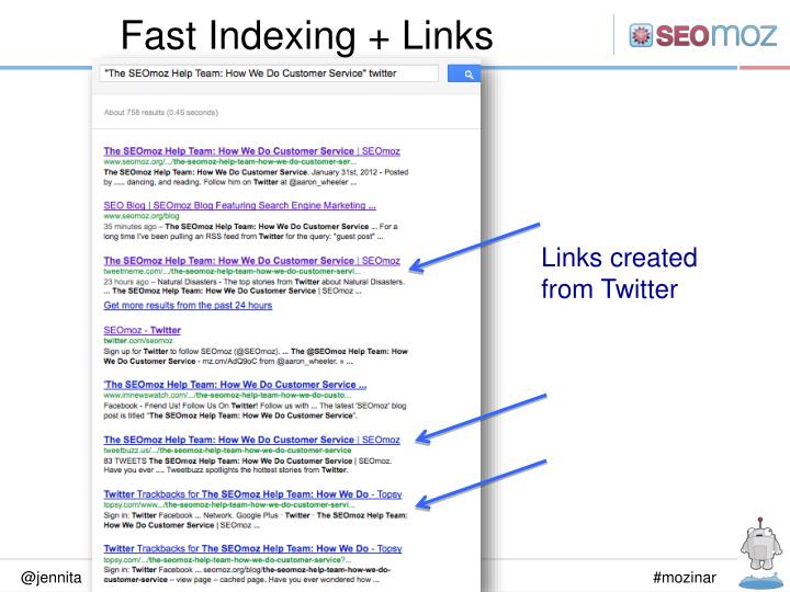 Fast Indexing + Links
