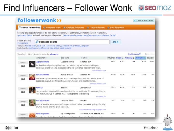 Find Influencers – Follower Wonk