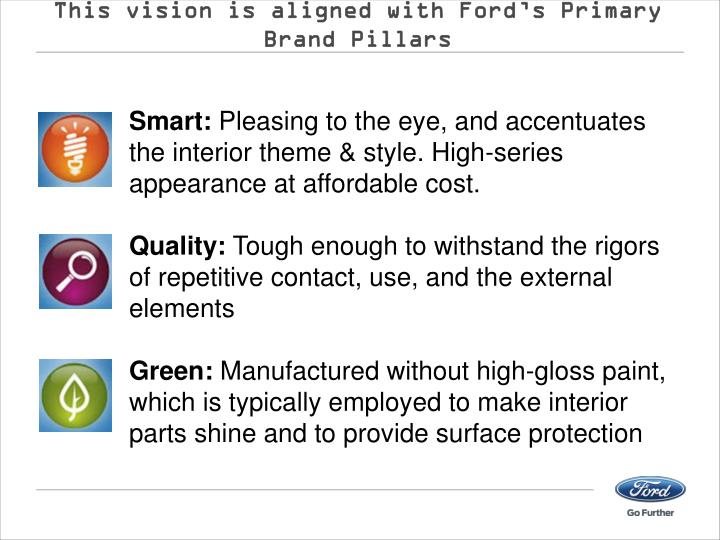 This vision is aligned with Ford's Primary Brand Pillars