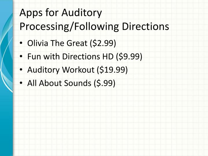 Apps for Auditory Processing/Following Directions