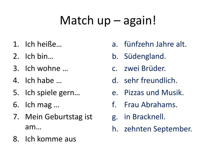 Match up – again!