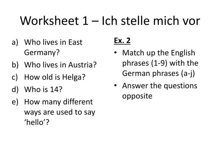 Worksheet 1 –