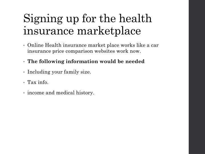 Signing up for the health insurance marketplace