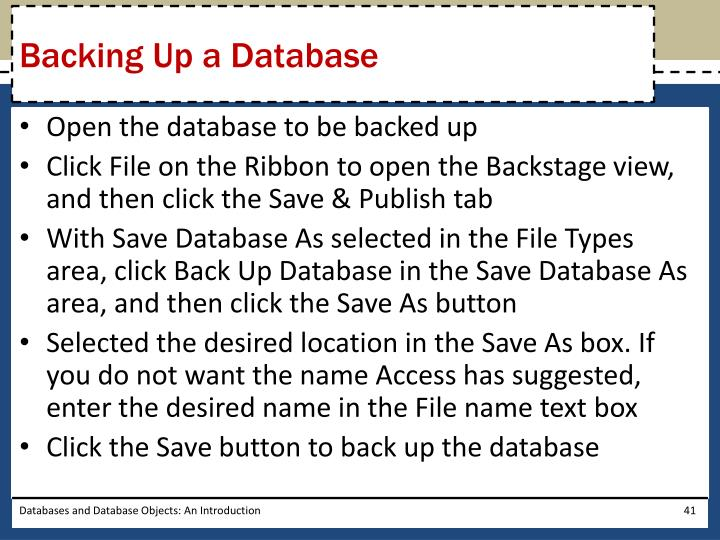 Backing Up a Database