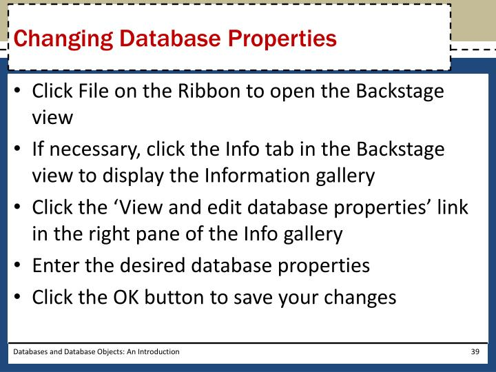 Changing Database Properties