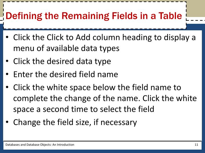 Defining the Remaining Fields in a Table