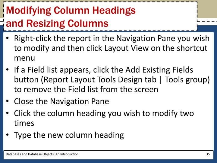 Modifying Column Headings