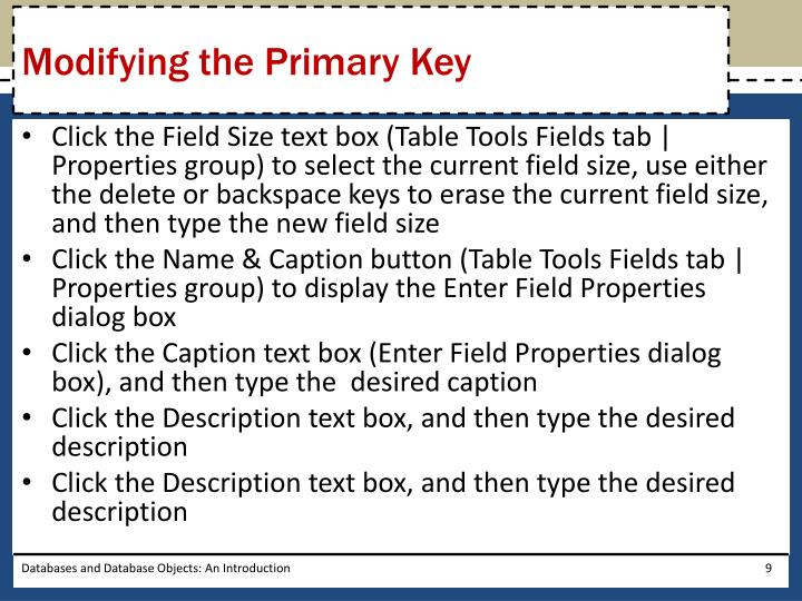 Modifying the Primary Key