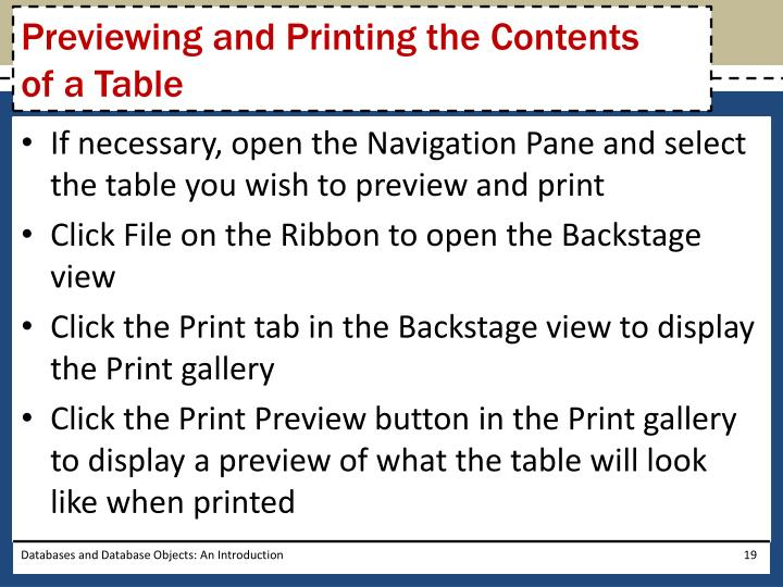 Previewing and Printing the Contents