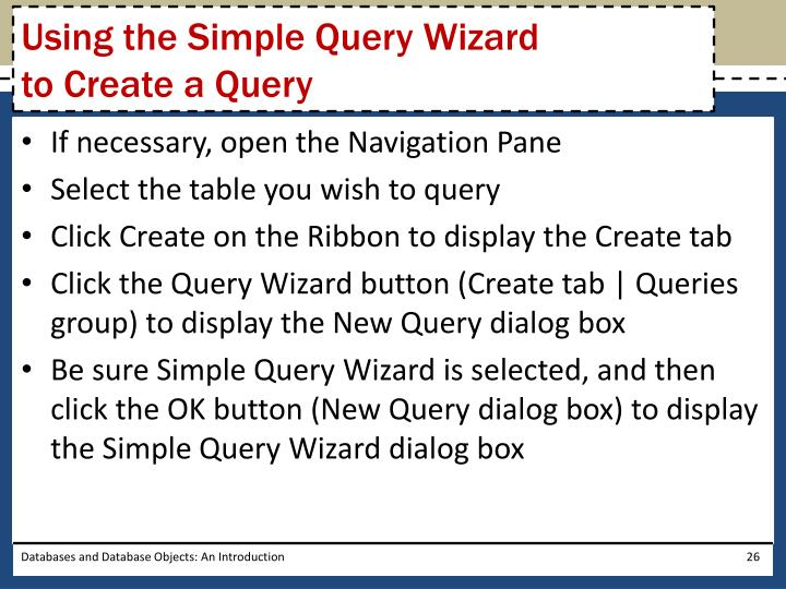 Using the Simple Query Wizard