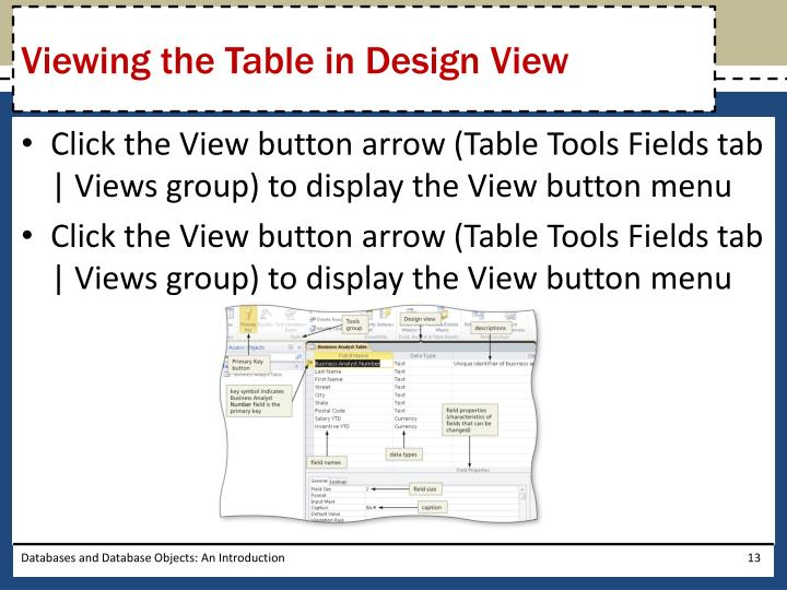 Viewing the Table in Design View