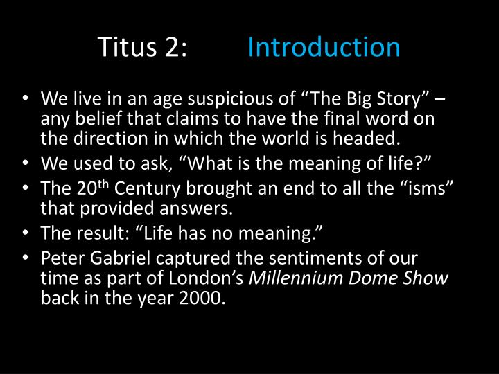 Titus 2 introduction