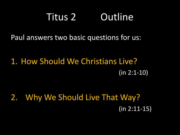 Titus 2Outline