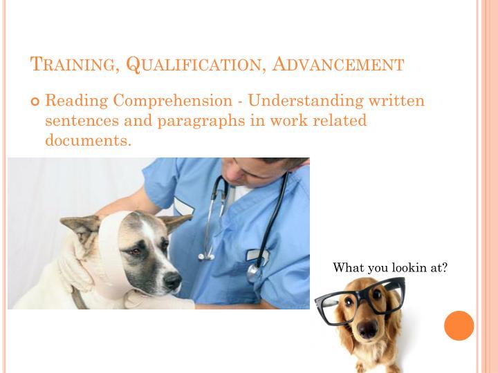Training, Qualification, Advancement