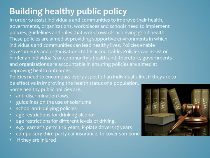 Building healthy public policy