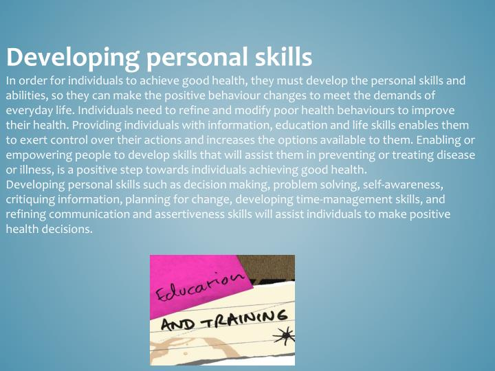 Developing personal skills