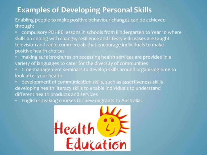 Examples of Developing Personal Skills