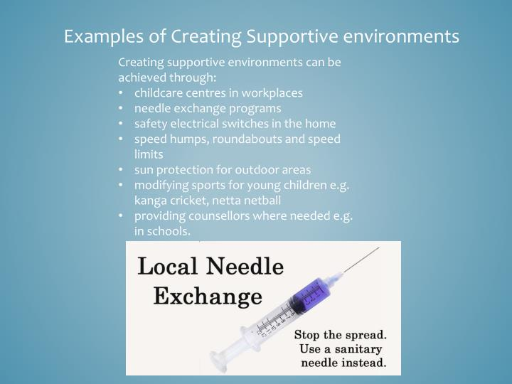 Examples of Creating Supportive environments