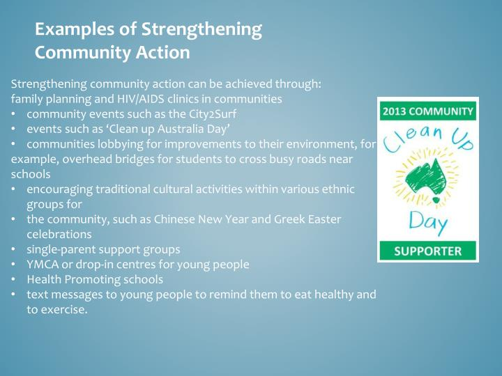 Examples of Strengthening Community Action