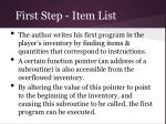first step item list