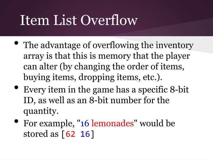 Item List Overflow
