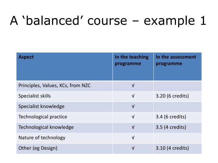 A 'balanced' course – example 1