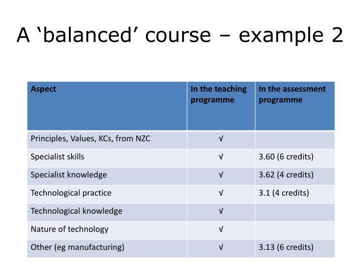 A 'balanced' course – example 2