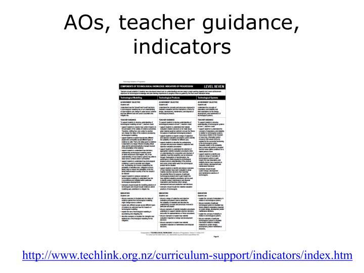 AOs, teacher guidance, indicators