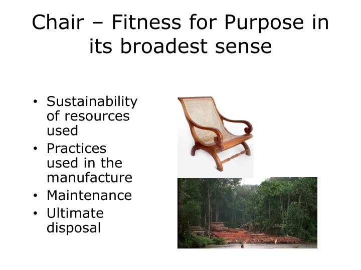 Chair – Fitness for Purpose in its broadest sense
