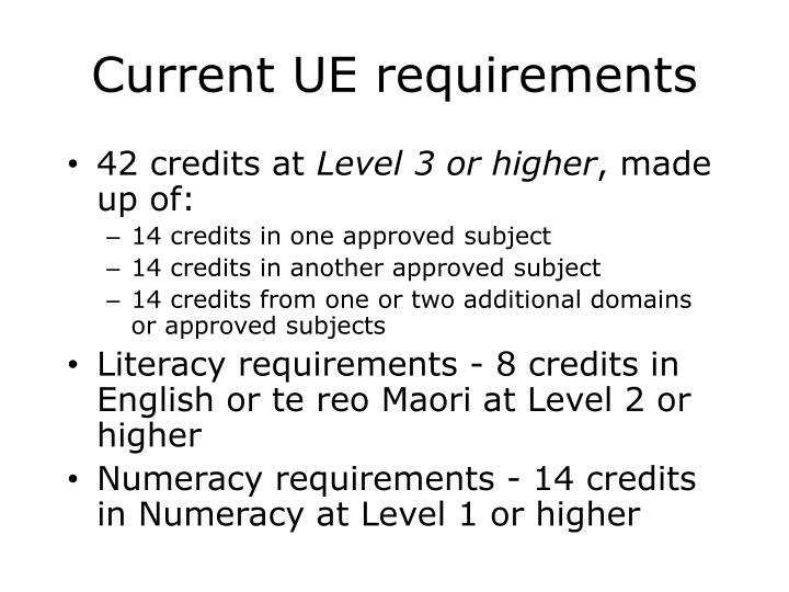Current UE requirements