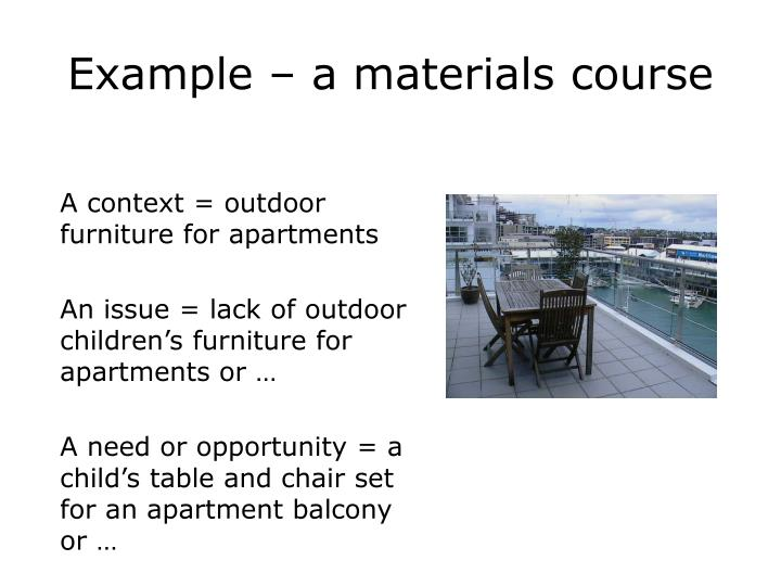 Example – a materials course