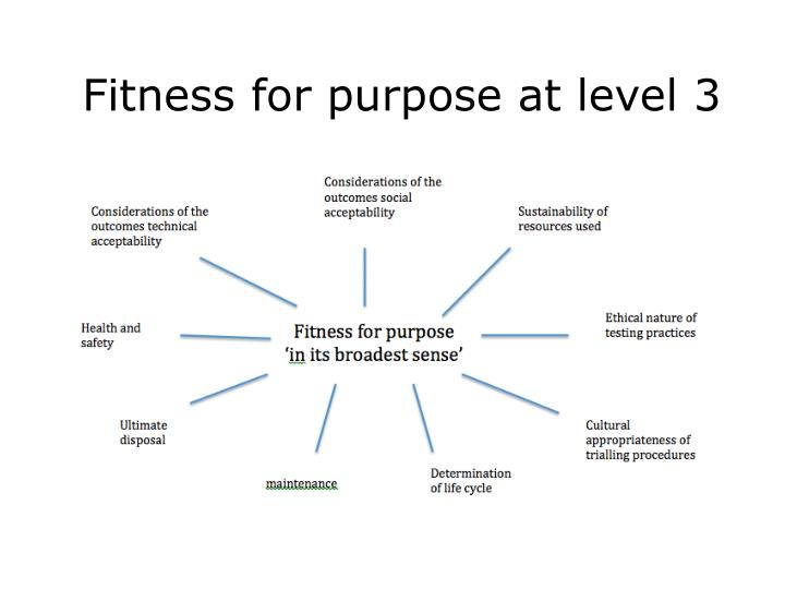 Fitness for purpose at level 3